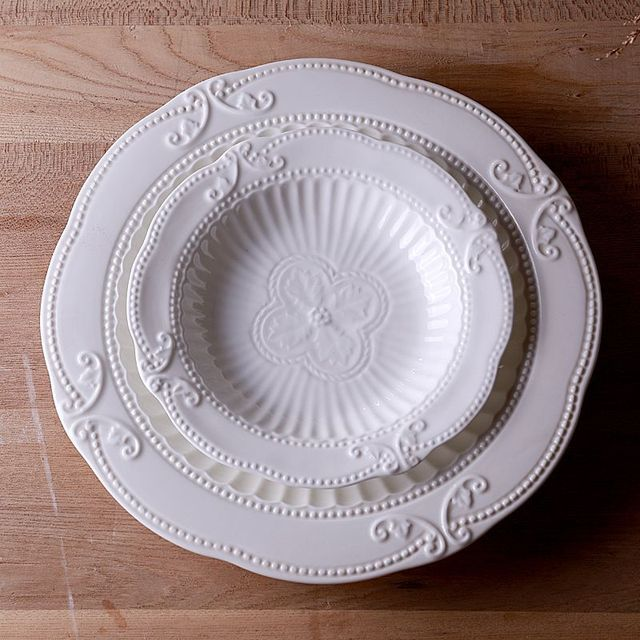 Isa family / Rococo French fine ceramic tableware Western dish plates embossed stripes deep mouth soup & Isa family / Rococo French fine ceramic tableware Western dish ...