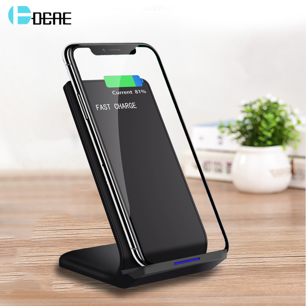 DCAE 10W Qi Fast Wireless Charger For iPhone X XS Max XR 8 Plus USB Quick Charging Stand Pad Samsung S8 S9 Note 9 S7