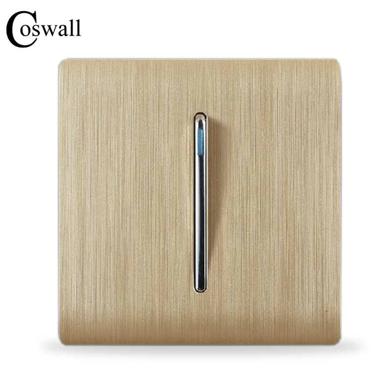 COSWALL Luxury Wall Switch Panel, 1 Gang 2 Way Light Switch Stair Switch, Champagne Gold Color, C31 sereis-in Switches from Lights & Lighting
