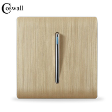 COSWALL Luxury Wall Switch Panel, 1 Gang 2 Way Light Switch Stair Switch, Champagne Gold Color, C31 sereis