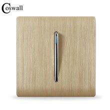 COSWALL lüks duvar anahtarı paneli, 1 Gang 2 yollu ışık anahtarı merdiven anahtarı, şampanya altın rengi, C31 sereis