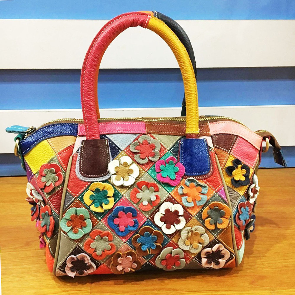 Brand Design Messenger Bag Applique Flowers Handbag Women Fashion Tote Bags Luxury Handbags Women High Capacity Shoulder Bags  цена и фото