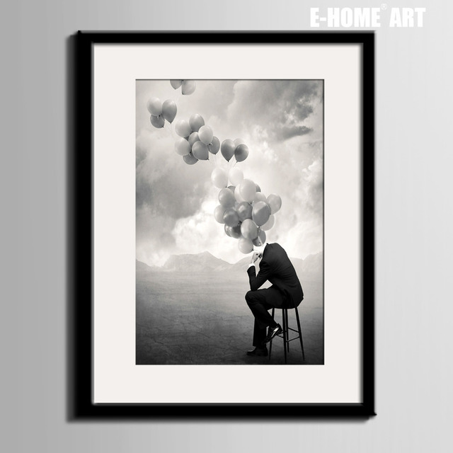 Poster style Art Print Framed Canvas Painting Art Thinking Man ...