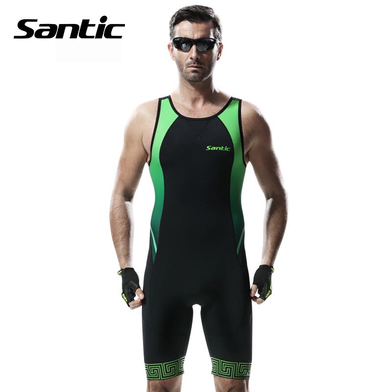 Santic Pro Cycling Jersey Sleeveless Triathlon Cycling Skinsuit 4D Pad MTB Downhill Jersey One-piece Road Bike Bicycle Jersey santic one piece cycling jersey men breathable road bike jersey quick dry bicycle jersey triathlon wear for running swimming