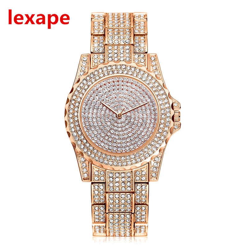 Luobos New Fashion Watch Women Stainless Steel Luxury Full Rhinestone Dial Casual Quartz Watch Ladies Clock Relogio Feminino hot sale womens luxury silver watches fashion hollow dial watch full steel quartz watch ladies watch hour clock relogio feminino