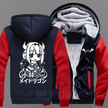 New Winter Jackets and Coats Miss Kobayashi's Dragon Maid hoodie Anime KannaKamui Hooded Thick Zipper Men Sweatshirts