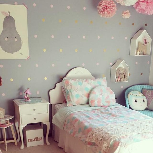 Baby Kindergarten Gold Tupfen Wand Aufkleber Punkte Wand Aufkleber Kinder Zimmer Wand Aufkleber Kinder Zimmer Einfach Wand Art Home Dekoration