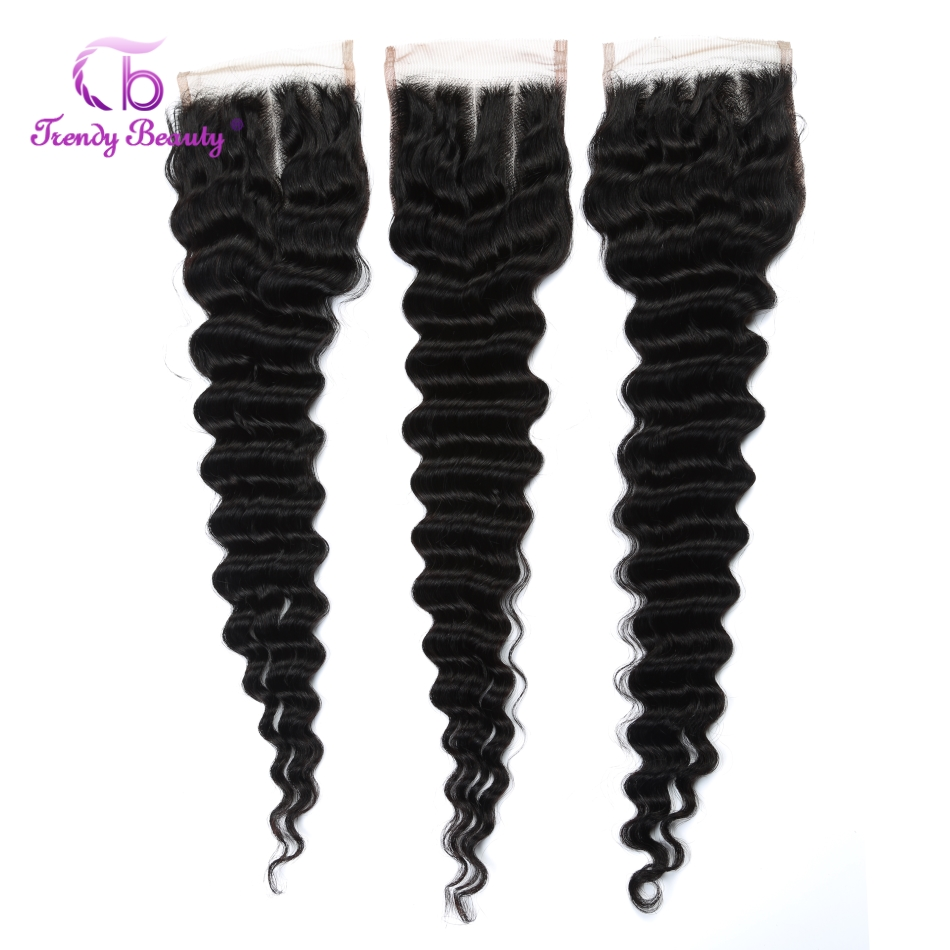 Brazilian Deep Wave Hair Closure 4x4 Inches 8-22 Inches Human Hair Closure 120% Destiny Swiss Lace Non-Remy Trendy Beauty Hair