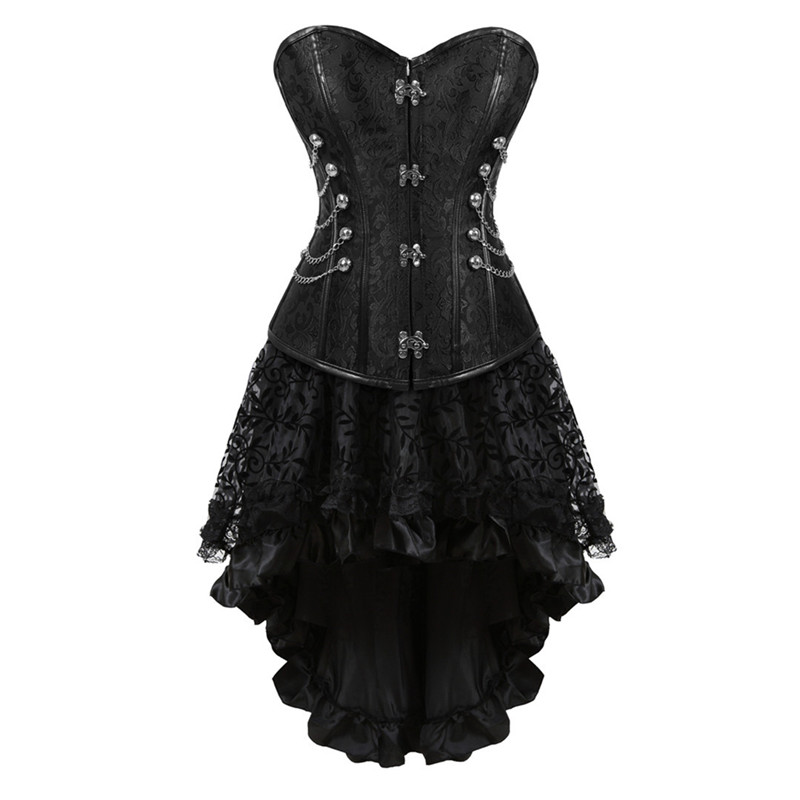 Black Steampunk   Corset   Dress Sexy   Corsets   and   Bustiers   Victorian   Corset   Skirts Sets Overbust Gothic   Bustier   Corselet Party Dress