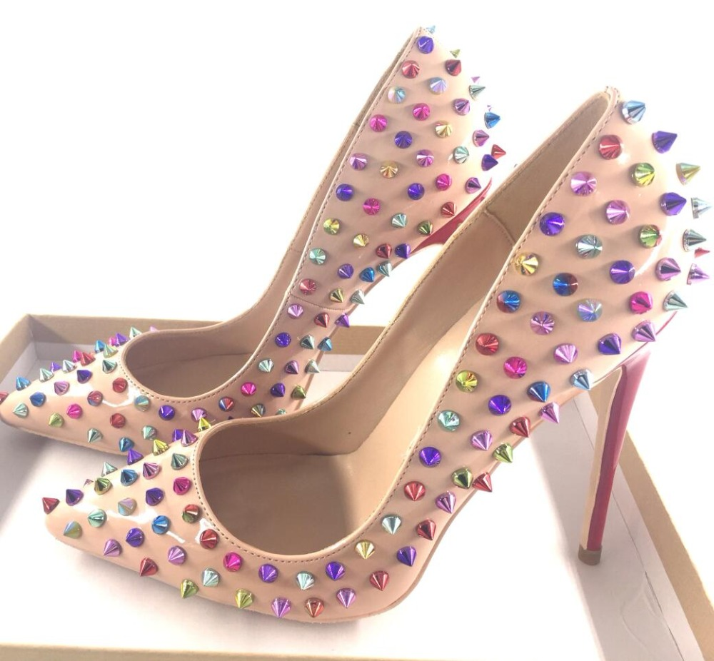 YUE JABON New Glitter Spikes Rivets Studded Pink High Heels Shoes Women 2019 Large Size 35-43 Stiletto Shoes Real Pictures
