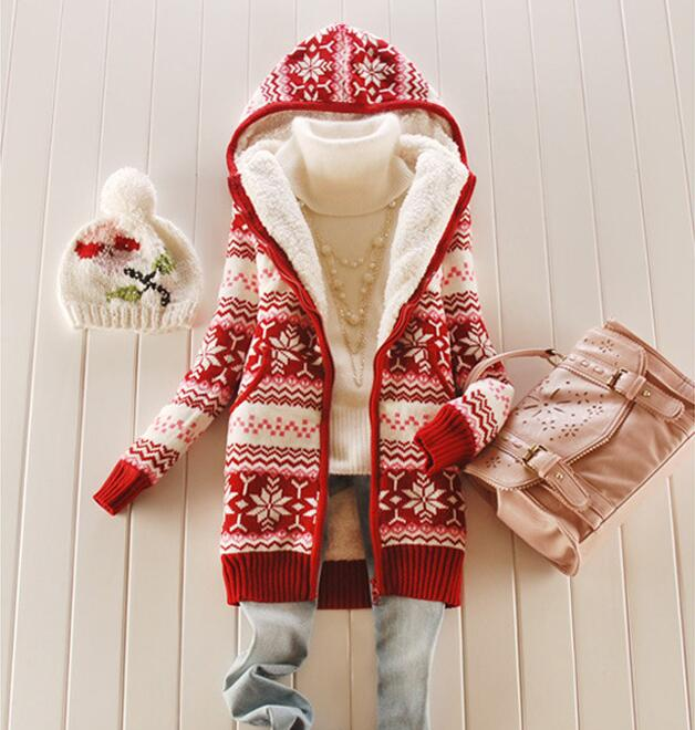 zipper Christmas Winter Snowflake Knitted Coat Korean Hat Warm Cashmere Sweater Coat Plus Thick Cardigan Long Coat For Women