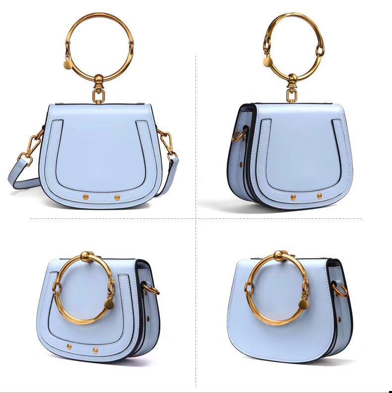 Fashion genuine leather handbag with sloping shoulder bag 2019 high quality hardware lady handbag with sloping shoulder bag