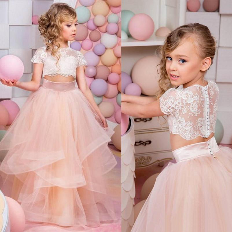 2019 Vestidos Primera Comunion Two Piece Ball Gown Flower Girl Dress Lace Toddler Glitz Pageant Dresses Pretty Kids Prom Gown in Flower Girl Dresses from Weddings Events