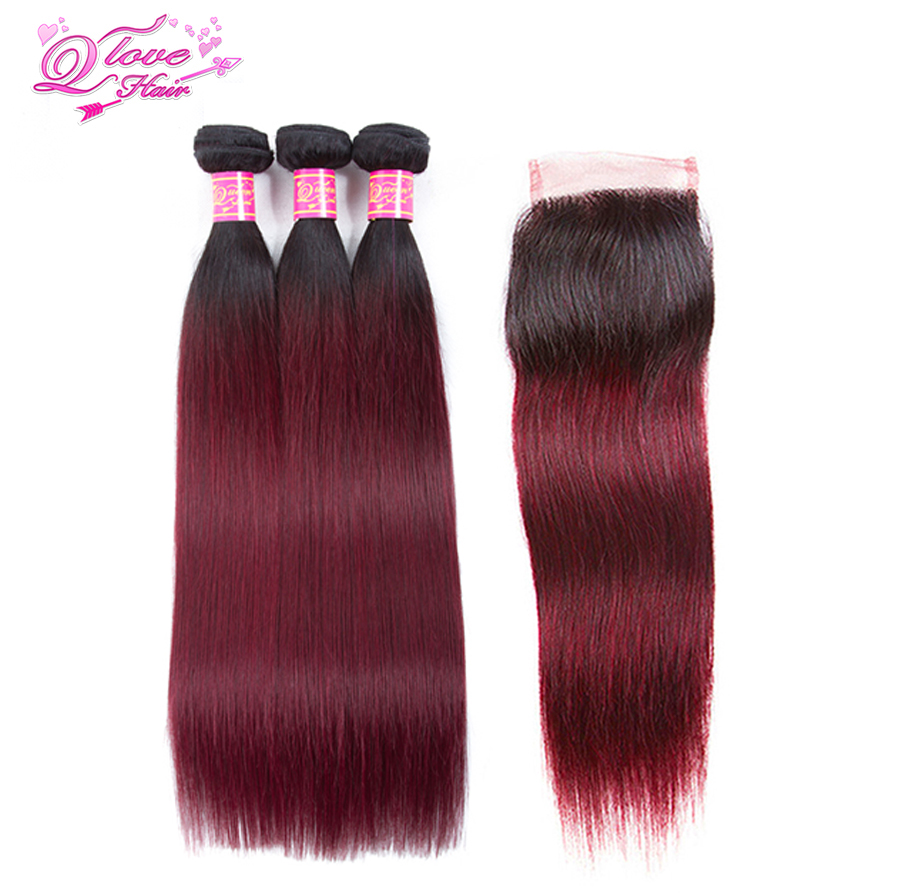 Queen Love Hair Pre-colored Malaysia Ombre Straight Hair 100% Human Hair 3 Bundles With Closure 1B/99J Non Remy Hair