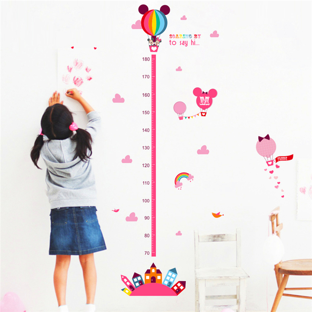 Cartoon Minnie Mickey Mouse Growth Chart Wall Stickers Height
