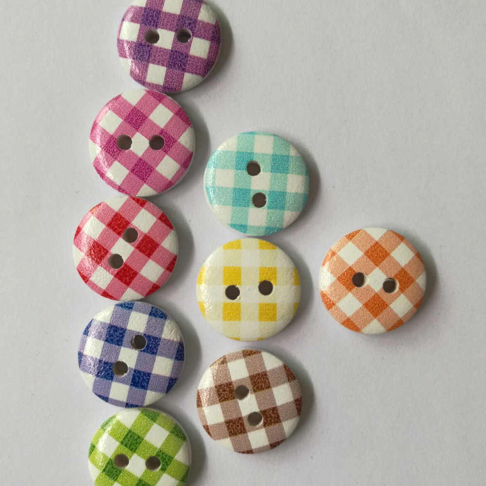 50PC 2 Holes Colourful Doll Wooden Buttons Fit Sewing And Scrapbooking Sewing B