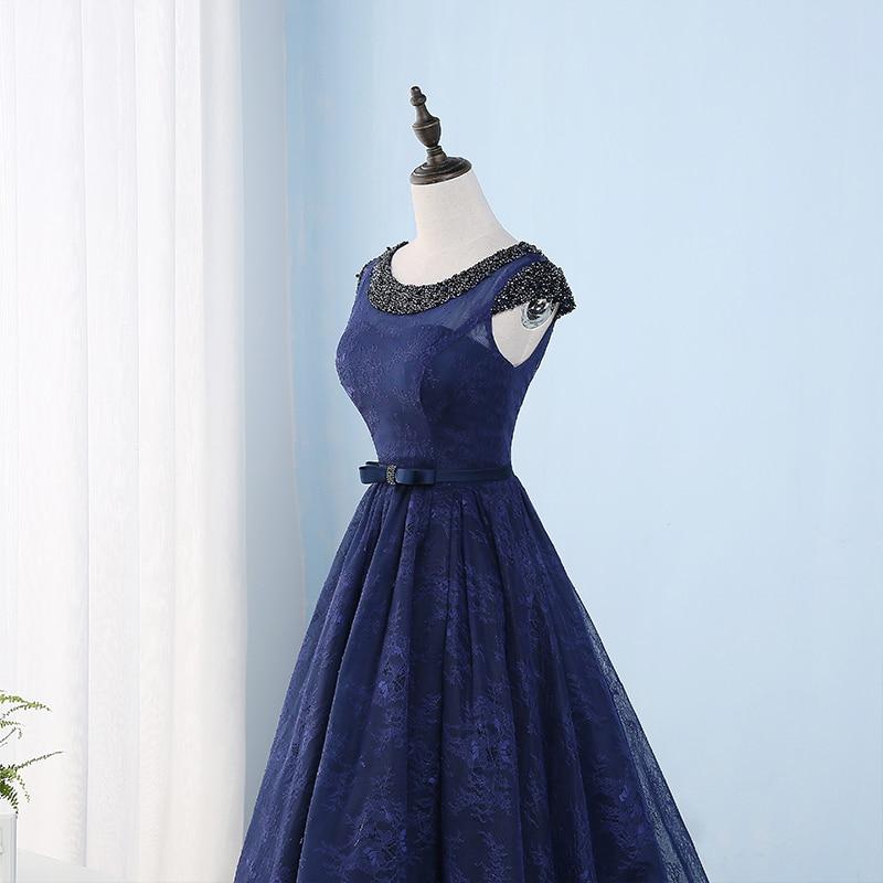 Navy Blue Lace Prom Dresses Panjang Beaded Wanita Prom Gaun Pesta