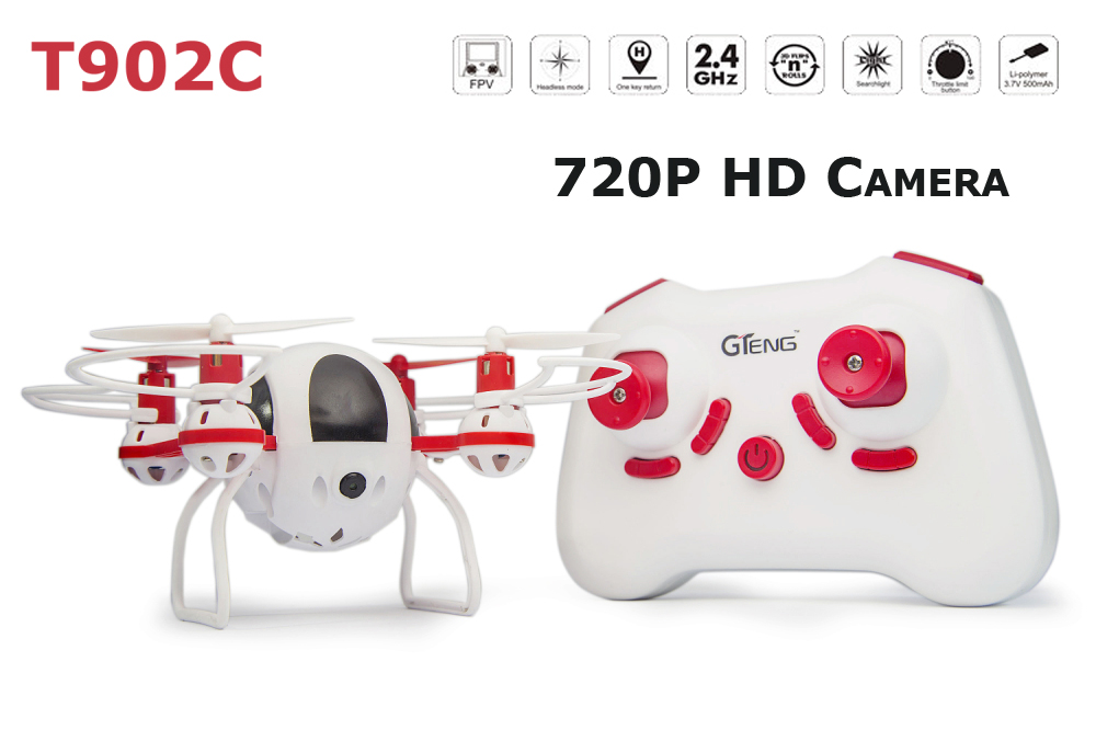 GTeng T902C 720P HD Camera 4CH 6 Axis Gyro Headless RC Helicopter with One Key Return RC Quadcopter RTF рецептура 902 ту 6 05 1587 84