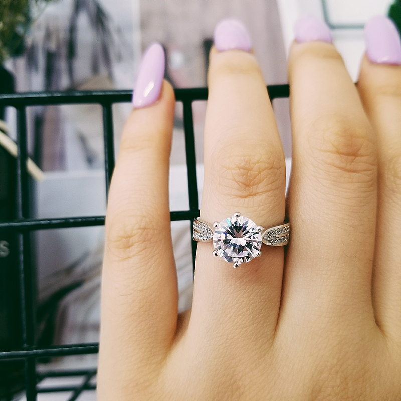 Real 925 Sterling Silver Ring Engagement Women luxury elegant bling fashion ring for wedding jewelry sepcial unique LR750S in Engagement Rings from Jewelry Accessories