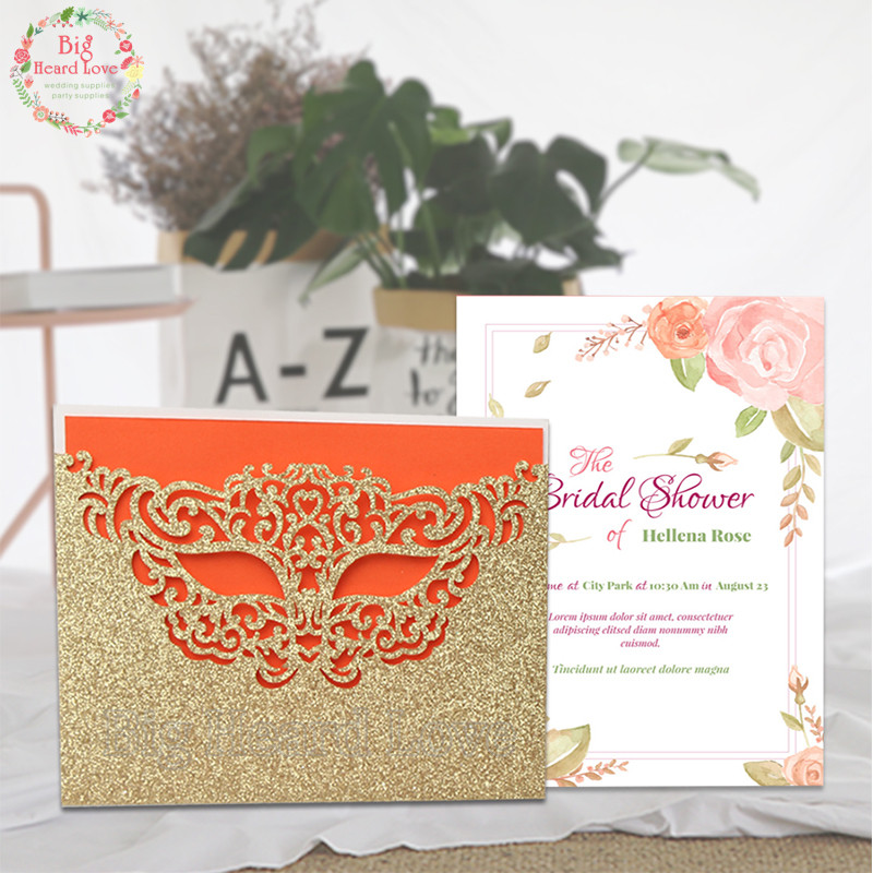 Wedding Invitations Business: 5sets Mask Laser Cut Wedding Invitations Cards Set/Rose