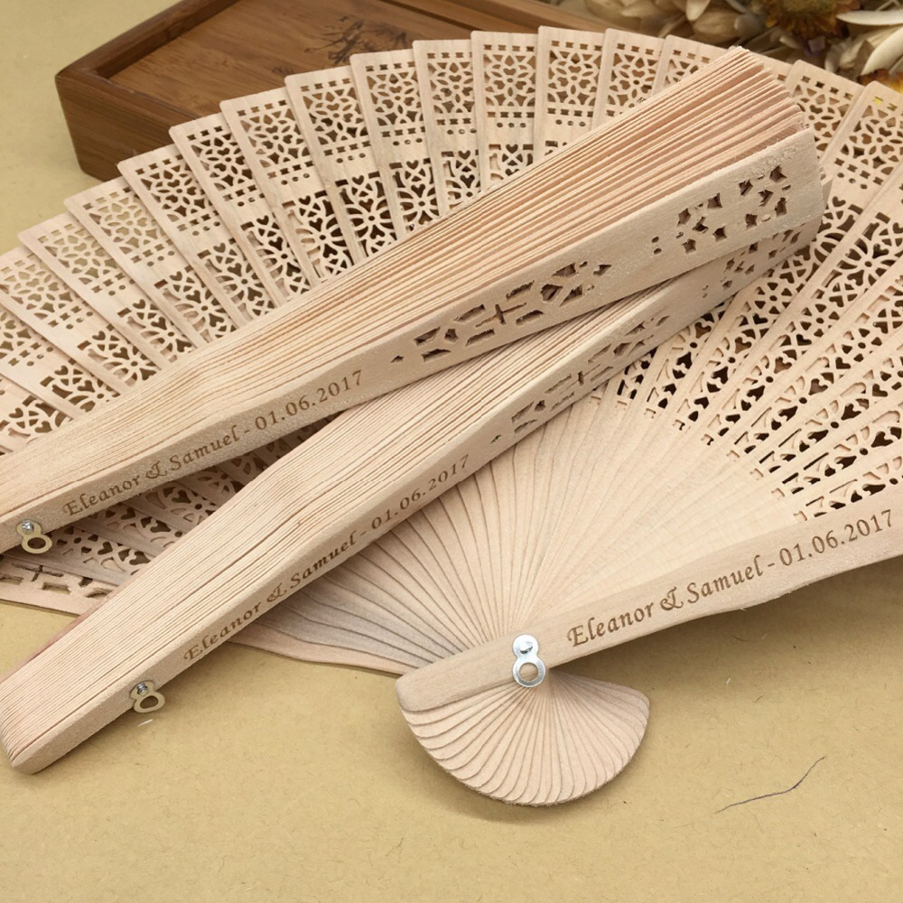 60pcs lot Anniversary Birthday Bridal shower favours wood Personalized wedding gift hand fans custom party favors
