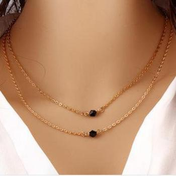 Joker Fashion Ultimate Simple Double Black Crystal Model Double Short Clavicle Chain Barrel Bead Necklace Sweater Necklace image