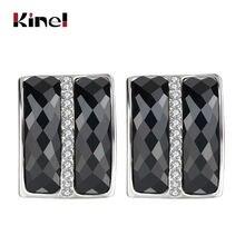 Классические черные большие серьги гвоздики kinel серебряные