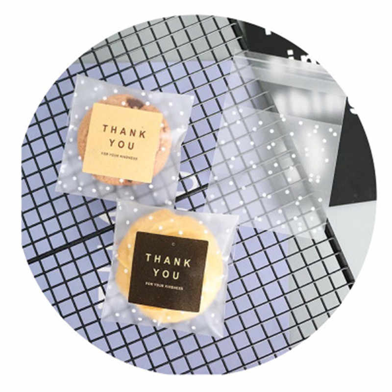 100 cái Trắng Polka Dot Trong Suốt Chà Nhựa Kẹo Túi Sinh Nhật Goodies Nhựa Trong Suốt Quà Tặng Kẹo Cookie Túi 5ZDZ59