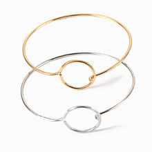 Minimalist new fashion ladies mens couple bracelet hot gold / silver alloy circle adjustable