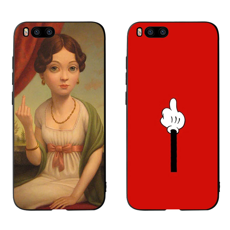 Middle f funny Phone Cases Cover for Xiaomi mi A2 8 9 lite se case xiaomi redmi note 6 7 pro case redmi note 5 Plus Soft Cases in Half wrapped Cases from Cellphones Telecommunications
