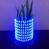 DIY Blue Dream Light Circle 5mm Light Cube LED DIY Kit Music Spectrum Module 8x32 Dot
