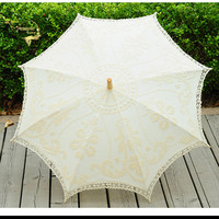 Fashion Beige Lace Wedding Umbrella Wooden Handle Bride Umbrella Parasol Cotton Beach Umbrella Wedding Guarda Chuva De Renda