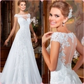 A-Line Beautiful Appliqued Sheer Scoop Wedding Dress 2015 New Summer Style Sexy Illusion Bridal Gown with Long Tail BXH007