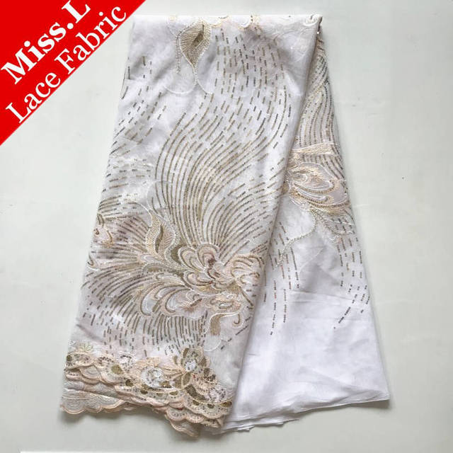 Miss L 2018 Latest Design African Lace Fabrics High Quality French tulle Laces with sequins Embroidery for woman Wedding dress