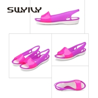 SWYIVY Women's Sandals Jelly Shoes Summer 2018 Female Beach Shoes Open Fish Mouth Plastic Sandals Shoes 40 Size Lady Casual Shoe