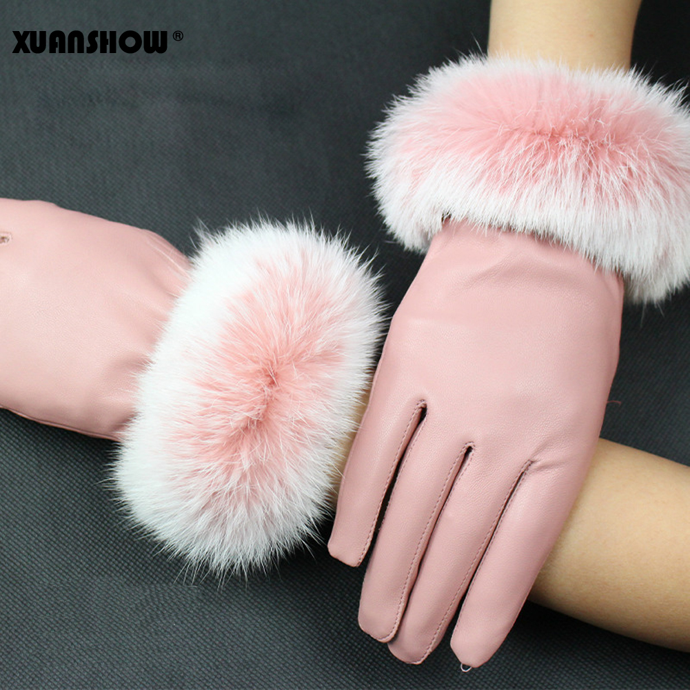 XUANSHOW Touch Screen Leather Gloves Female Rabbit Hair Wrist Mouth Autumn Winter Keep Warm Inside Coral Fleece Thicken Gloves