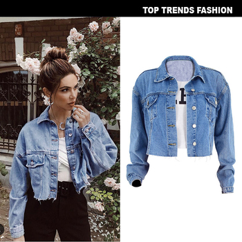 Boussac Women Basic Coat Denim Jacket For Jeans Short Loose Fit Casual Style