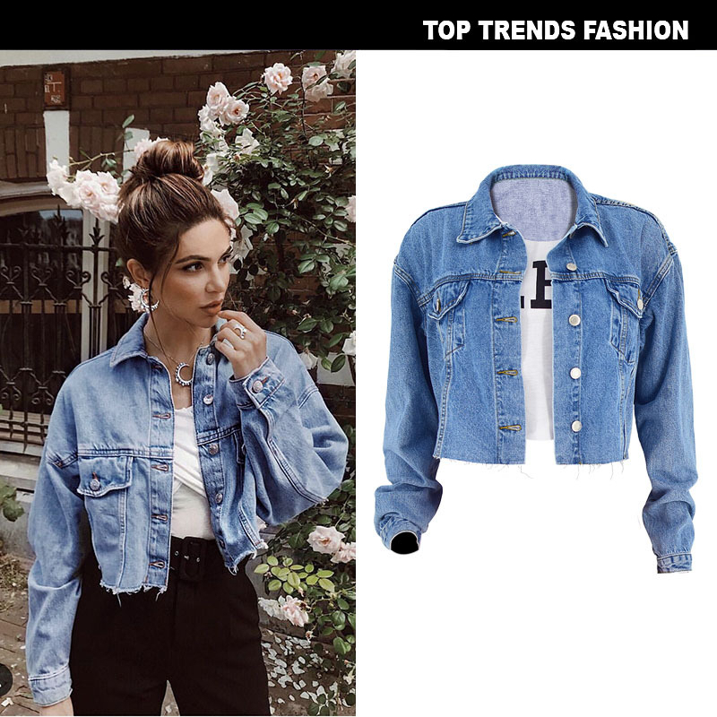Boussac Women   Basic   Coat Denim   Jacket   Women Denim   Jacket   For Women Jeans Short Loose Fit Casual Style