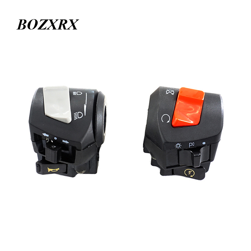 BOZXRX Universal Motorcycle Horn Switch Horn Turn Signal Light Control Switch Button Handlebar Parts For Honda CB400 1992-1998 modified motorcycle accessories refires horn trolley belt oil pump cnc general horn refires