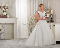 Free Shipping 2014 Modest Wedding Dresses With Lace High Back Bridal Ball Gown Short Sleeves Vestidos