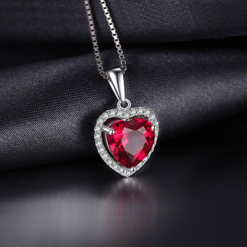 Heart Created Red Ruby Pendant Necklace  2
