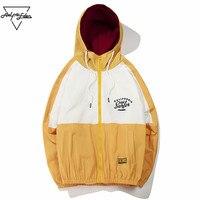 Aelfric Eden Windbreaker Swag Jacket Men Vintage Color Block 2018 Spring Summer Coats Letter Print Track