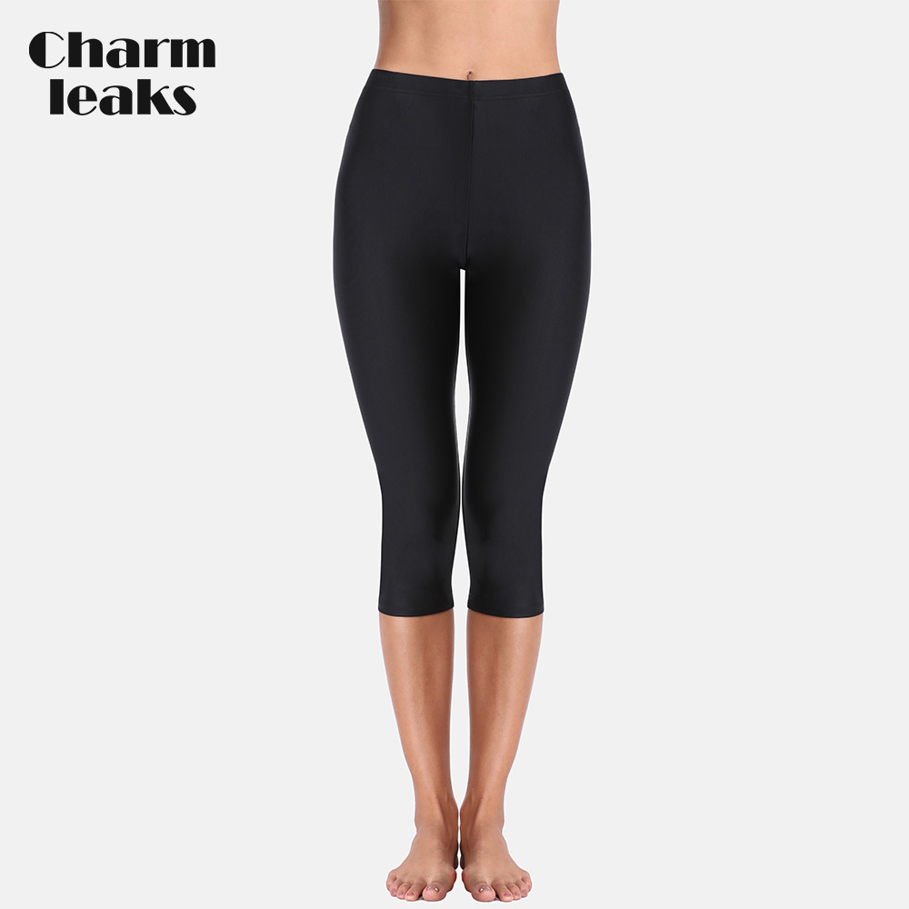 Charmleaks Women High Waist Swimming Pants Ladies Tankini Bottom Solid Swimwear Capris Pants Boardshort Swimming Bottoms