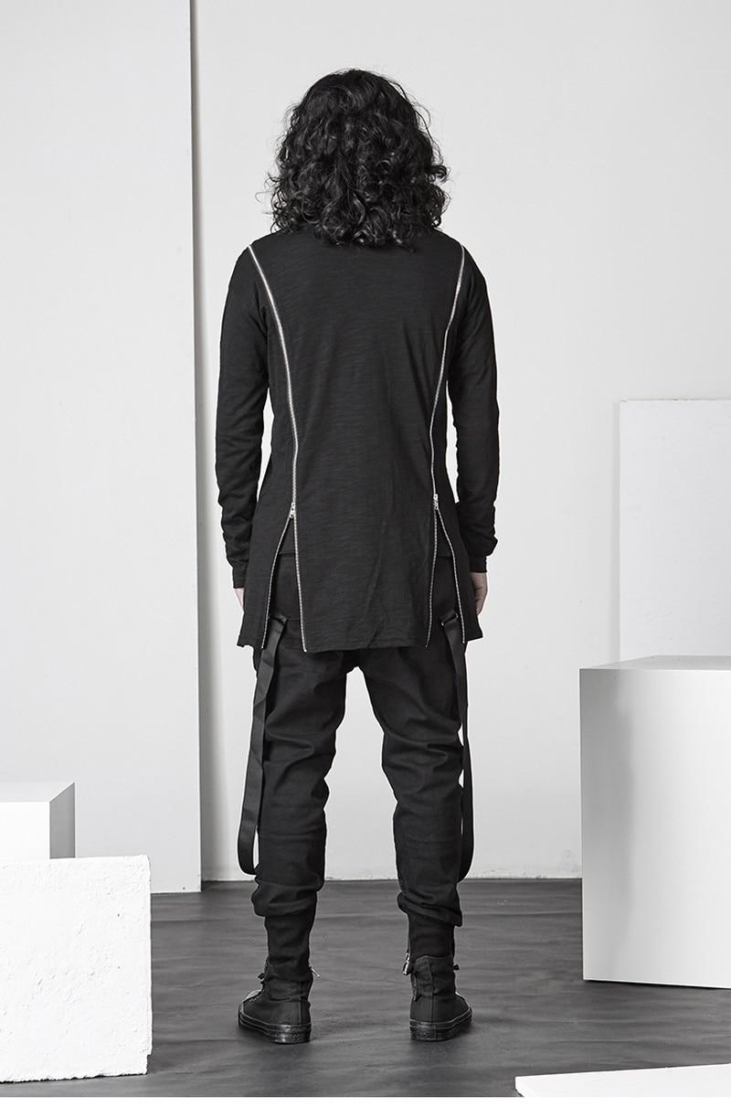 Асимметричная хлопковая футболка с длинными рукавами, Готическая мужская темно индивидуальная футболка с круглым вырезом, уличная Мужская футболка, мода 2018 - 3