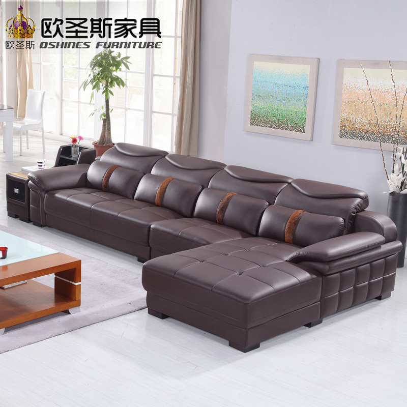 New Model L Shaped Modern Italy Genuine Real Leather Sectional Latest Corner Furniture Livingroom Sex Sofa Set L29