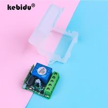 Kebidu 433 Mhz DC 12V interruptor de Control remoto inalámbrico para transmisor de código de aprendizaje remoto 220V 1CH relé 433 Mhz módulo receptor