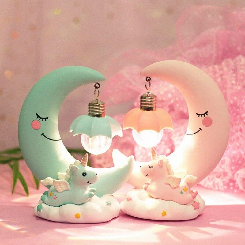 LED veilleuse licorne lune résine dessin animé lampe de nuit Luminaria romantique chambre décor nuit lampe bébé enfants anniversaire cadeau de noël
