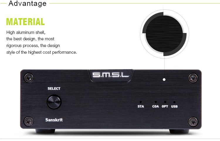 SMSL Latest 6th Sanskrit USB DAC 32BIT192Khz Coaxial SPDIF Optical Hifi Audio Amplifier Decoder New Version With Power Adapter 5