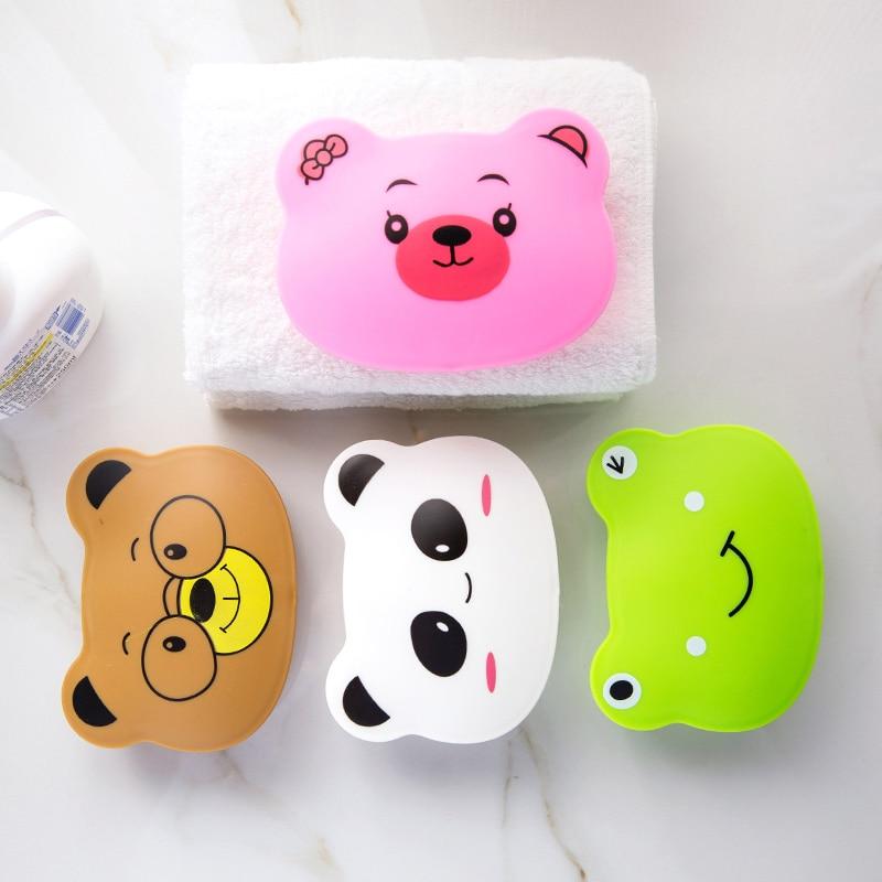 1pc Cartoon Animal Portable Soap Box Soap Holder Travel Bathroom Soap Dish Jewelry Storage Box