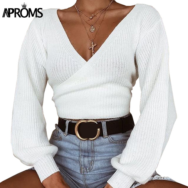 f1ece94287 Aproms Deep V Neck White Wrap Knit Pullover Women Autumn Bow Tie Knitted  Cropped Sweater Female